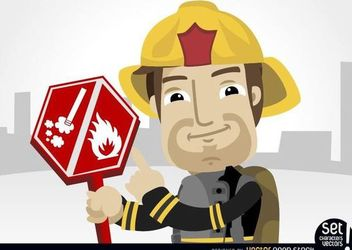 Fireman pointing burning risk sign - vector gratuit #181029