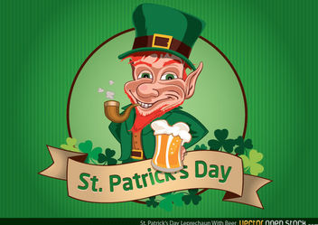 St Patrick's Day Leprechaun with Beer - Kostenloses vector #181129