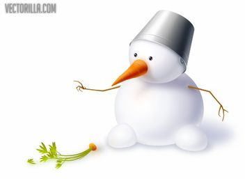 Cute Snowman with Carrot & Hat - Free vector #181139