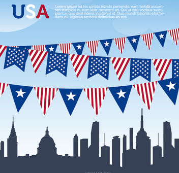 USA pennants and Skyline - vector gratuit #181179