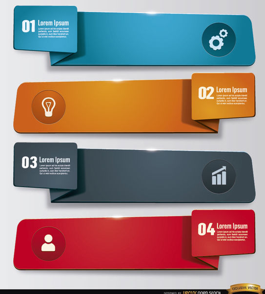 4 Work sticker banners - vector gratuit #181189
