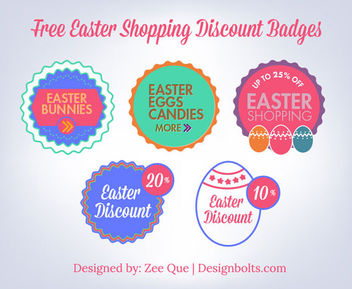 Vintage Easter Discount Badge Set - Free vector #181219