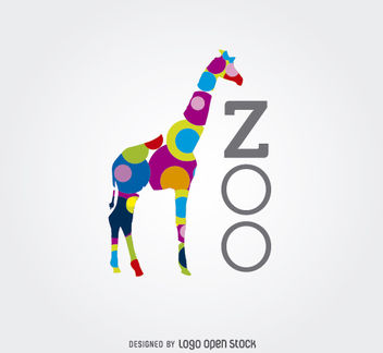 Colored Circles Giraffe Zoo Logo - Free vector #181239