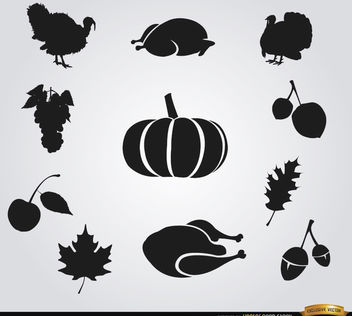 10 Thanksgiving food silhouettes - Free vector #181249