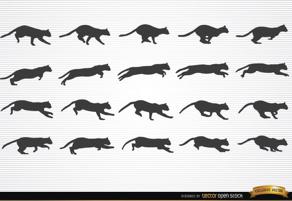 Animal chat en silhouettes de motion - vector gratuit #181269