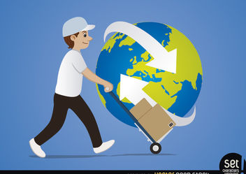 Delivery man cart arrows around planet - Free vector #181489