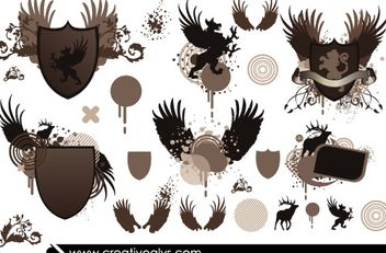 Heraldic Shield Pack with Animals & Wings - Kostenloses vector #181499