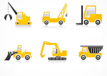 Heavy Vehicles Construction Flat Icons - бесплатный vector #181569