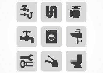 Silhouette Plumbing Icon Pack - vector #181579 gratis