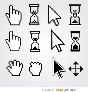 12 Cursor hand arrow hourglass - Free vector #181609