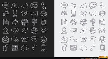 Stroke Communications internet icons - Free vector #181629