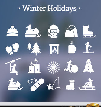 20 winter holidays white icons - Free vector #181649