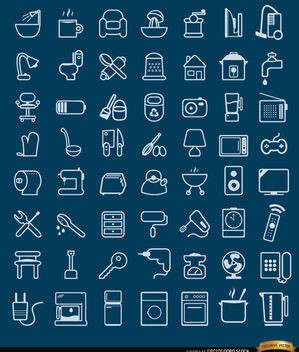 56 House objects and tools Icons - vector gratuit #181659