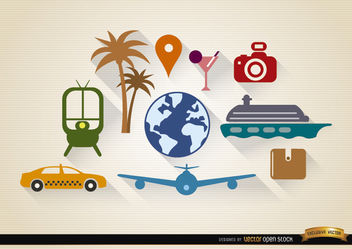 10 Travel tourism elements set - vector #181689 gratis