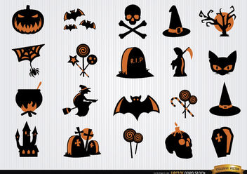 Halloween scary symbols icon set - Free vector #181699