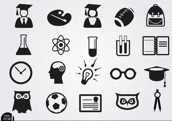 Academic school icons set - бесплатный vector #181709