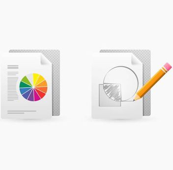Drawing and Print Document Icons - vector gratuit #181739