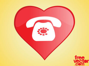 Heart Phone Icon - Free vector #181789
