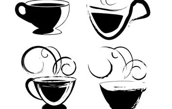 Coffee cups drawings - vector gratuit #181829