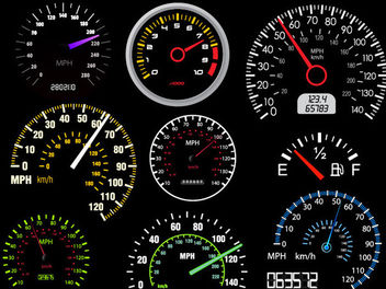 Digital & Analogue Automobile Speedometer Pack - Free vector #181849