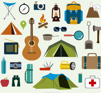 Camping icons and elements - Free vector #181889