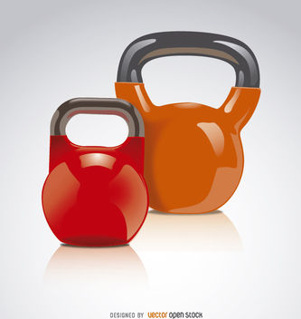 2 Kettlebells red orange - vector gratuit #181969