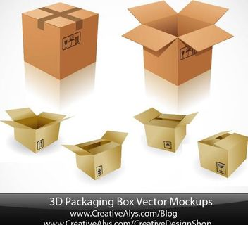 3D Paper Board Packaging Box Set - Free vector #182039