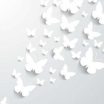 White Paper Cut Butterfly Pack - vector gratuit #182119