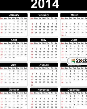 Black & White Simple 2014 Calendar - vector #182149 gratis
