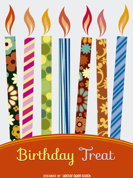 Birthday colorful candles invitation - Free vector #182189