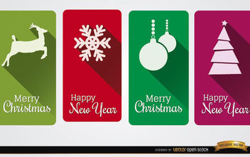 4 Christmas vertical cards - vector #182209 gratis
