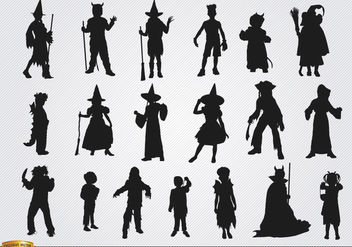 Halloween children costumes silhouettes - vector gratuit #182219