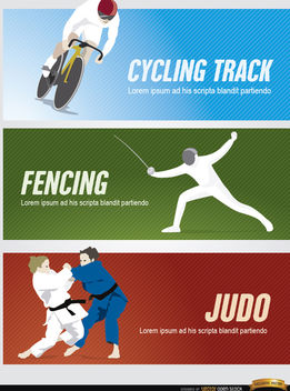 Cycling, fencing, judo sport headers - vector gratuit #182269