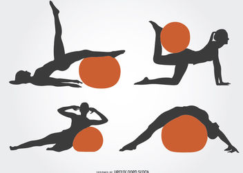 Girl Pilates silhouette with ball - Free vector #182289