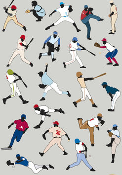 20 Baseball players silhouettes - Free vector #182309