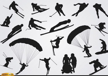 Snow sports silhouettes set - vector #182339 gratis