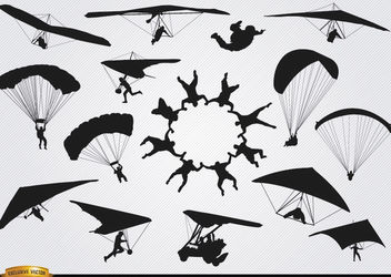 Parachutes and paragliders skydiving silhouettes - Free vector #182349