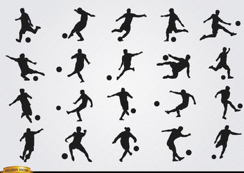 Football players silhouettes - vector gratuit #182369
