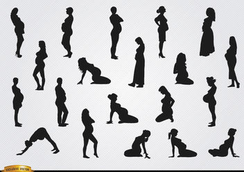 Pregnant woman silhouettes - Free vector #182379