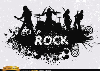 Rock band grunge silhouette - Free vector #182389