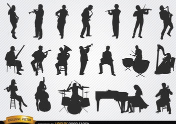 Musicians silhouettes set - Free vector #182399