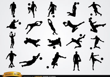 20 Soccer player silhouettes - Kostenloses vector #182409