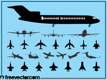 Flying Aircraft Pack Silhouette - бесплатный vector #182419