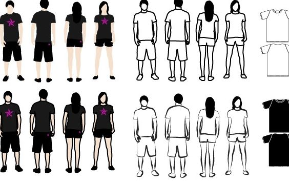 T-Shirt Models 2 - Free vector #182469
