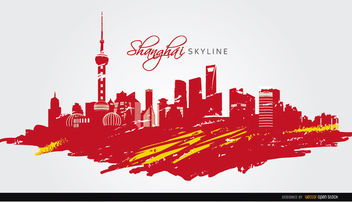 Shanghai skyline flag painted - vector gratuit #182509