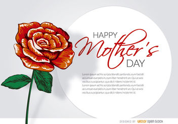 Mother's Day drawn rose card - Kostenloses vector #182519