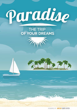 Paradise beach vacations poster - бесплатный vector #182529