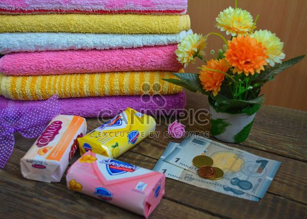 Bath towels and three boxes of good soap - Free image #182799