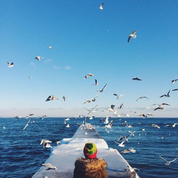 Girl on pier and seagulls over sea - бесплатный image #183549
