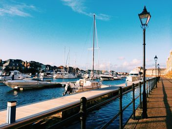 View on yachts in harbour, England - бесплатный image #183929